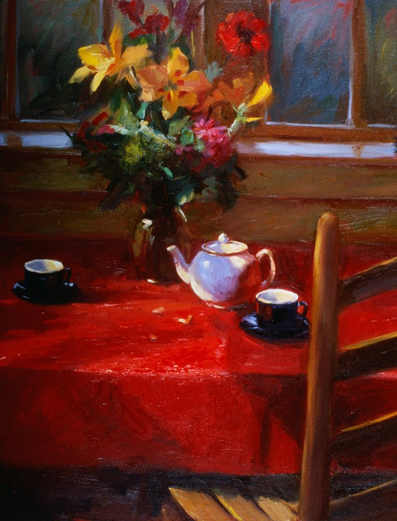 Detail of Flowers and Teapot on Red by Pam Ingalls