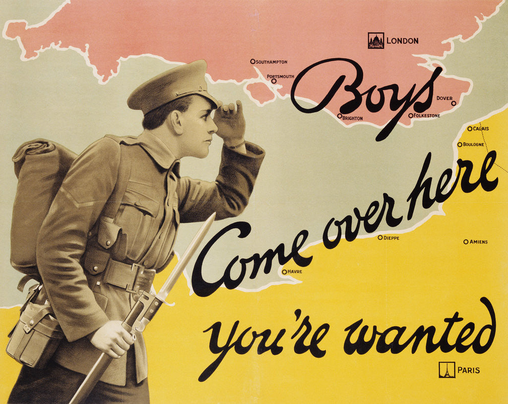Detail of Boys Come Over Here You're Wanted Recruitment Poster by Corbis