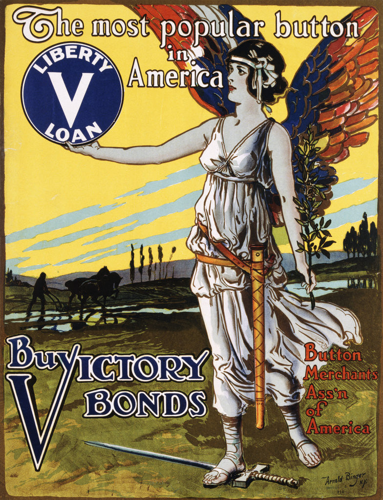 Detail of The Most Popular Button in America - Buy Victory Bonds Poster by Arnold Binger