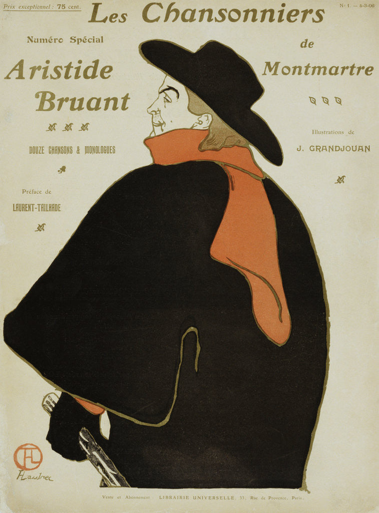 Detail of Les Chansonniers Poster by Henri de Toulouse Lautrec