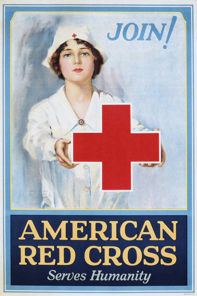 Detail of Join! American Red Cross Serves Humanity Poster by Lawrence Wilbur