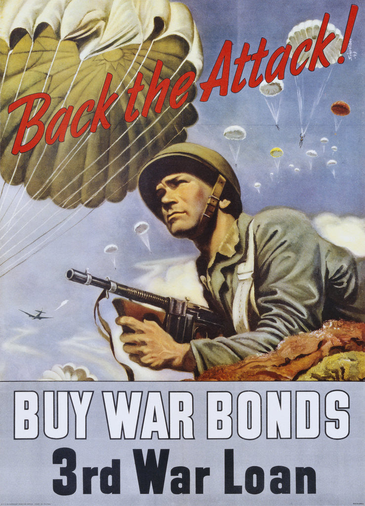 Detail of Back the Attack! War Bonds Poster by Schrieber
