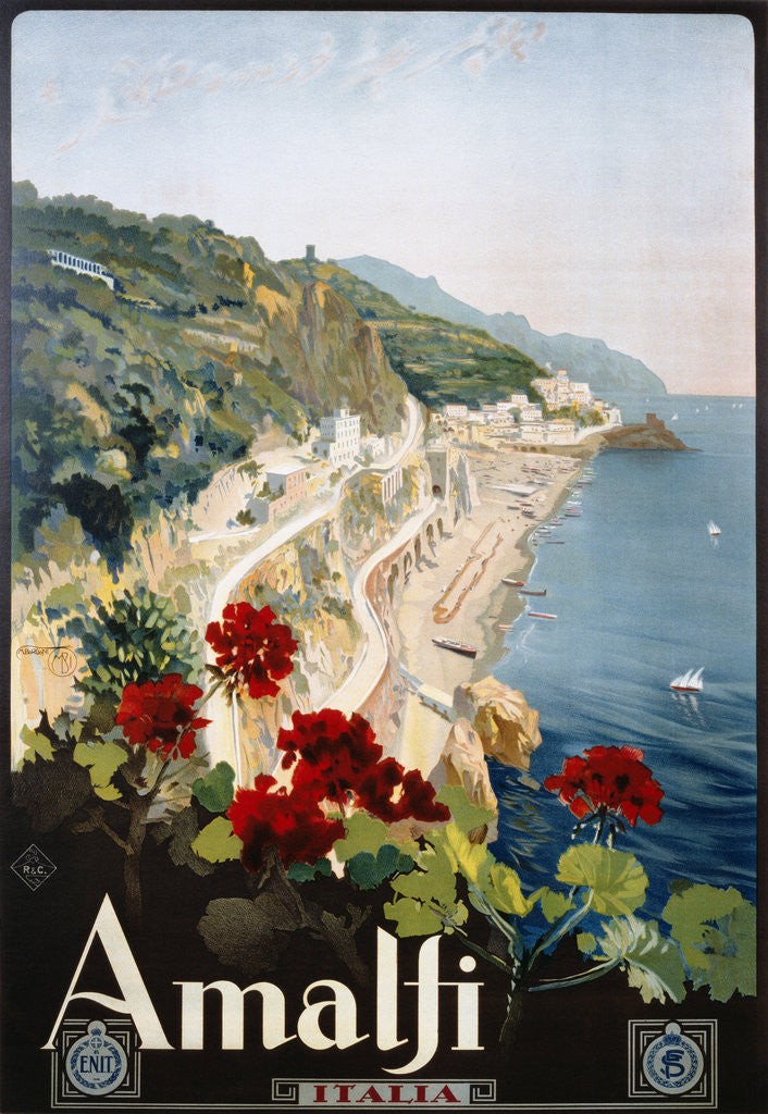 Detail of Amalfi Poster by Mario Borgoni