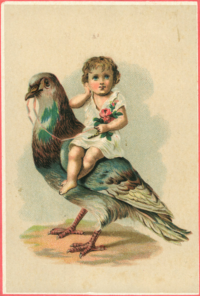 19th-Century Trade Card Depicting a Child Riding a Pigeon