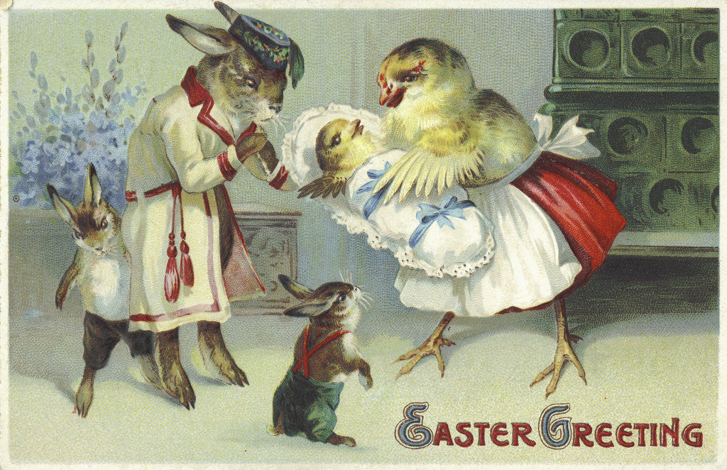 Detail of Easter Greeting Postcard Depicting a Rabbit and Chick Family by Corbis