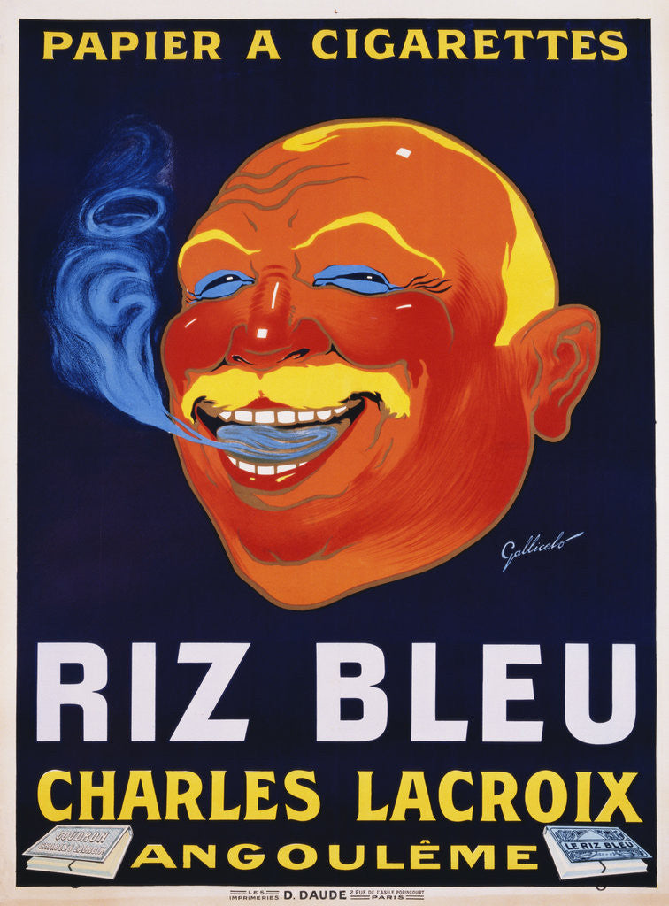 Detail of Riz Bleu - Charles Lacroix Cigarette Paper Advertisement Poster by Galicello