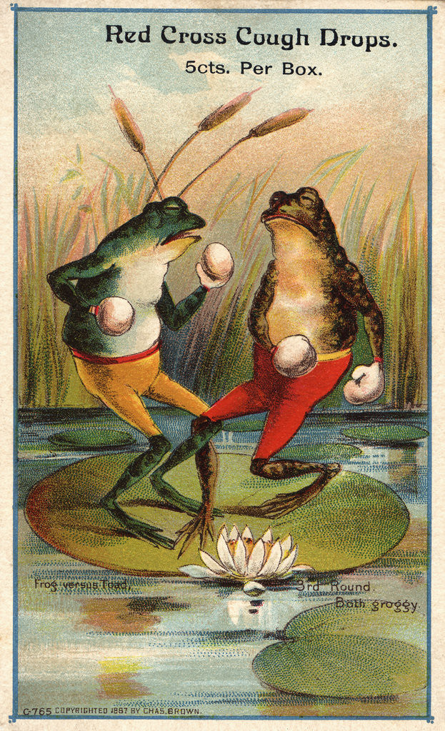 Detail of Frog Versus Toad Red Cross Cough Drops Advertisement by Corbis