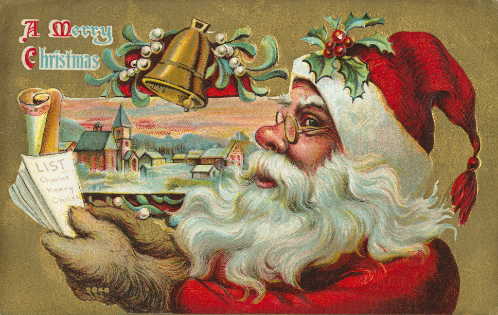 Detail of A Merry Christmas - Santa's List Postcard by Corbis