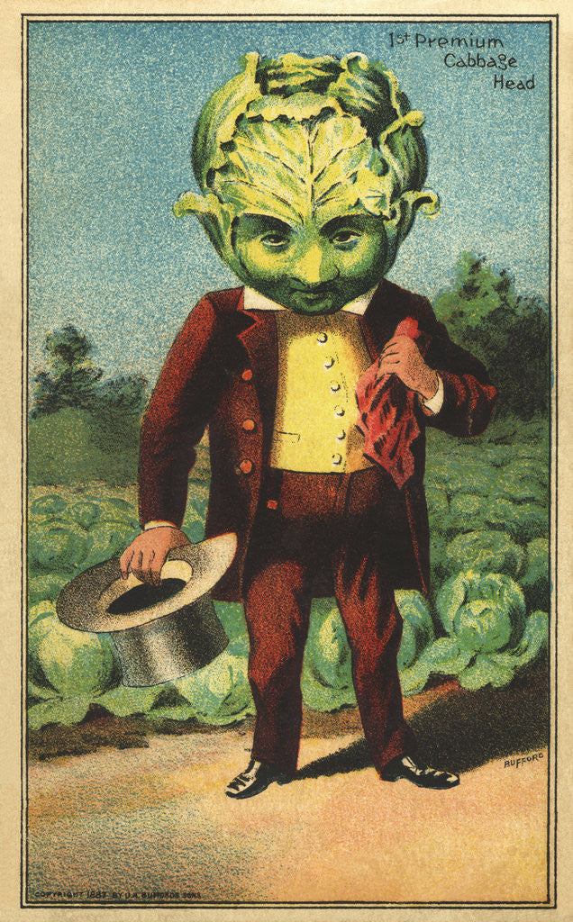 Detail of 1st Premium Cabbage Head Trade Card by Corbis