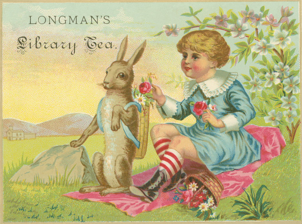 Detail of Longman's Library Tea Trade Card by Corbis