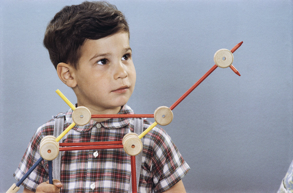 Detail of Boy Playing with Tinkertoys (TM) by Corbis
