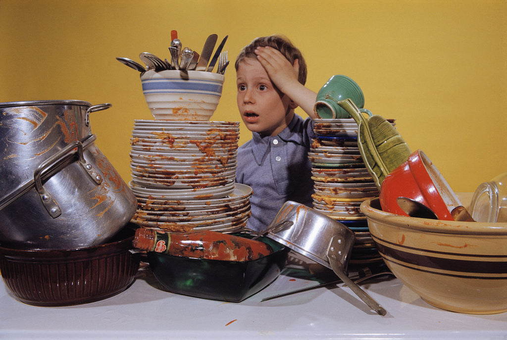 Detail of Boy Overwhelmed by Dirty Dishes by Corbis