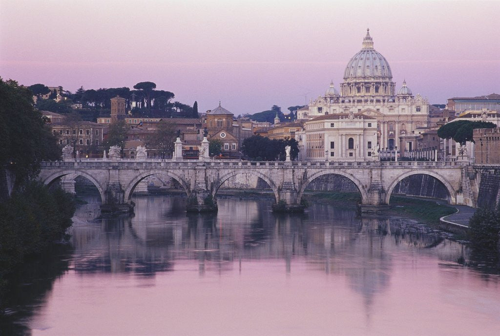 Detail of Tiber River and St. Peter's Basilica by Corbis