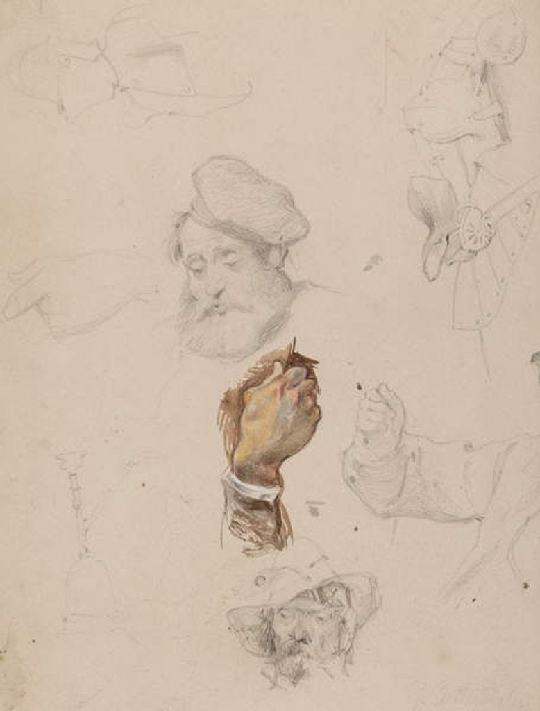 Detail of A page of studies by George Cattermole