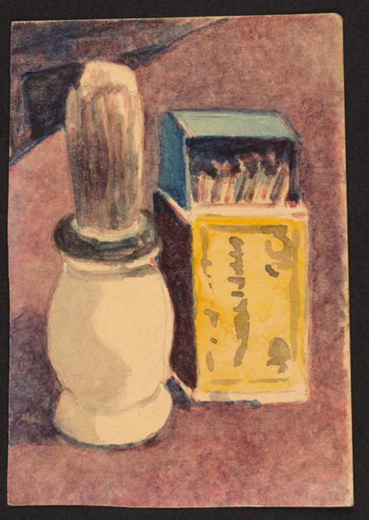 Detail of Shaving brush and matches, c.1930 by Henry Silk