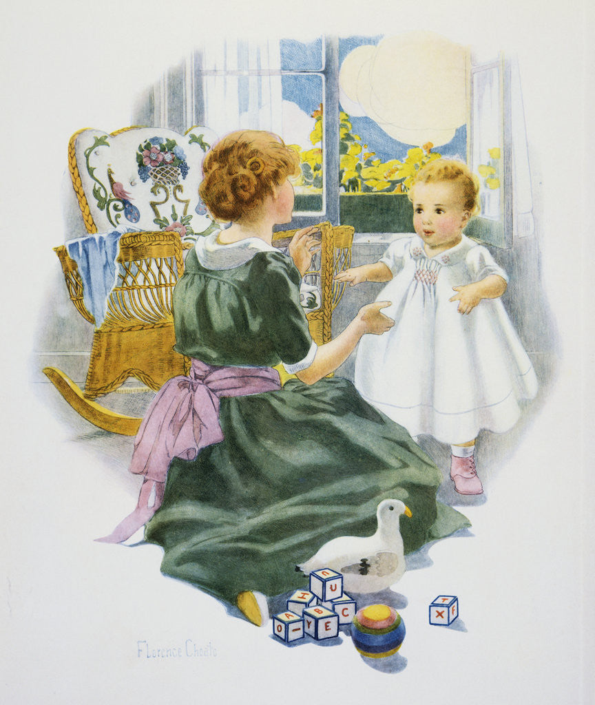 Detail of Baby's First Lesson Book Illustration with Mother and Daughter by Florence Curtis Elizabeth Choate