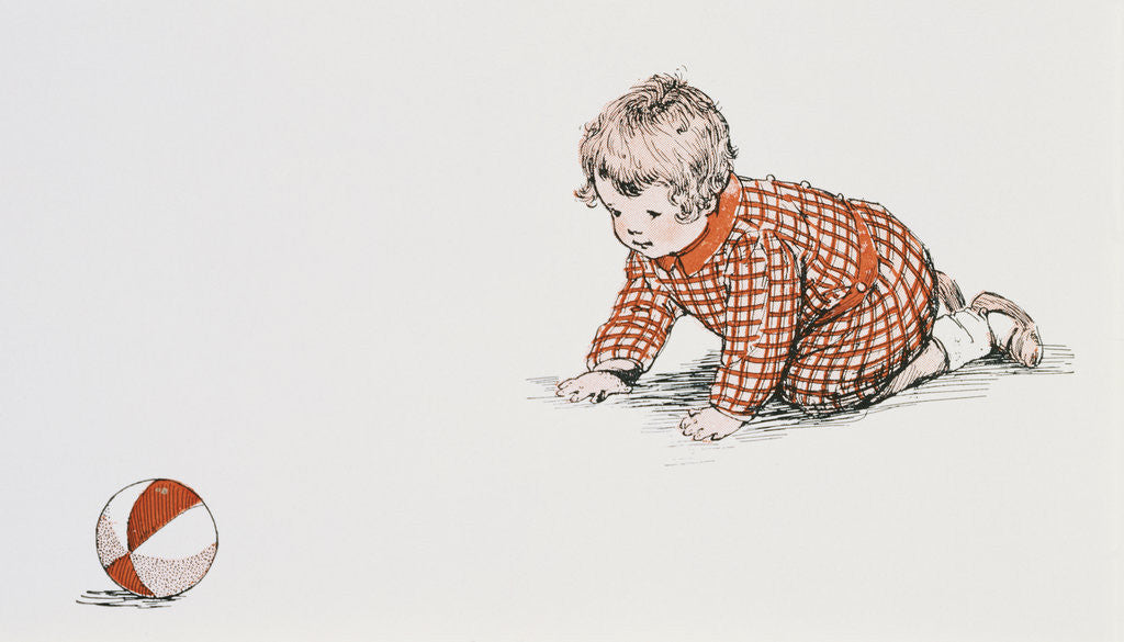 Detail of Baby's Year Book Book Illustration with Baby Chasing Ball by Meta Morris Grimball