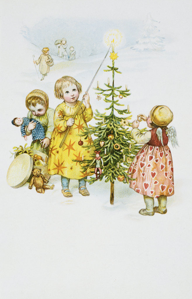 Detail of Christmas Postcard by Corbis