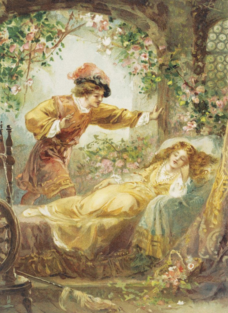 Detail of The Prince Finds the Sleeping Beauty Book Illustration by Corbis