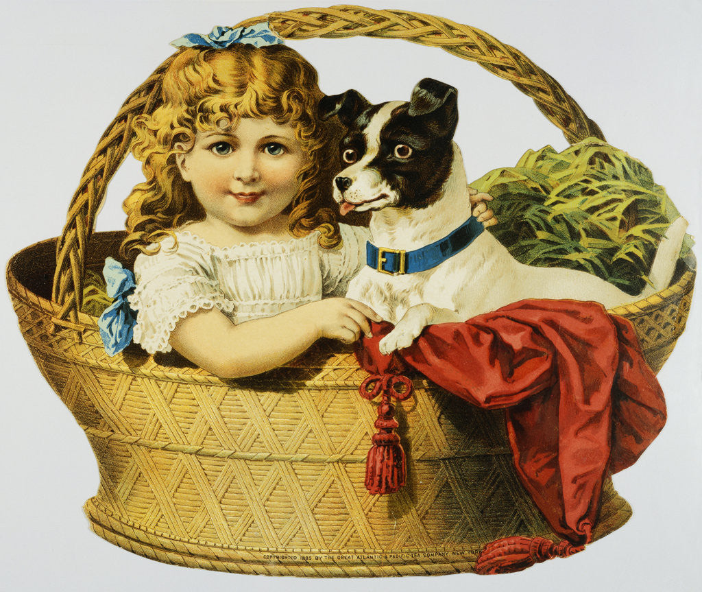 Detail of Illustration Depicting a Girl and A Dog in a Basket by Corbis