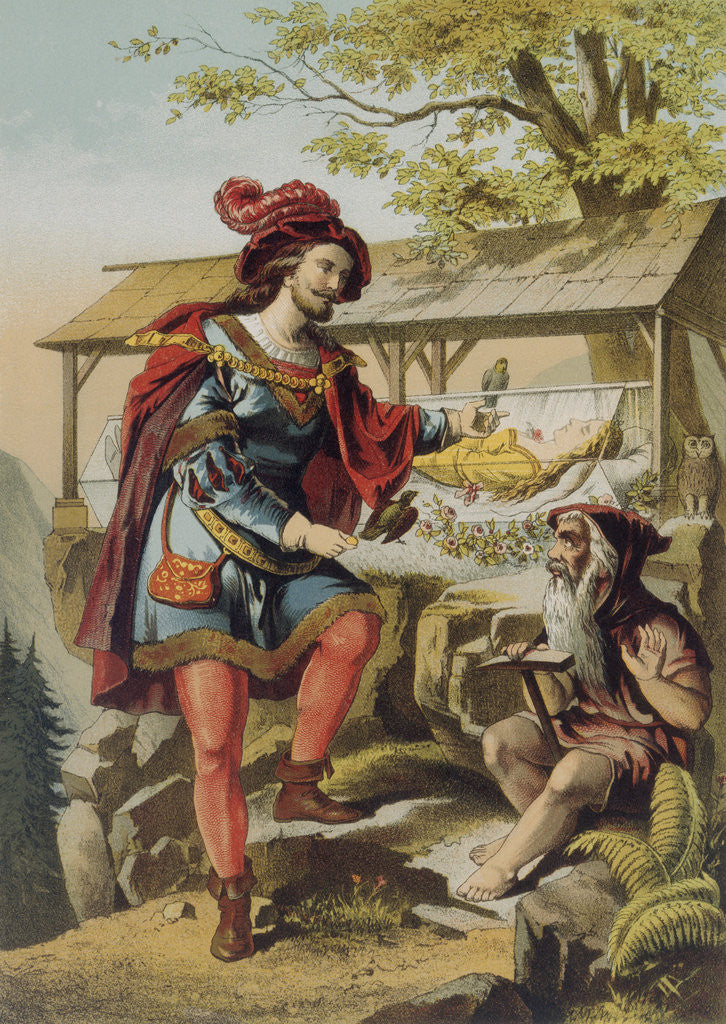 Detail of Illustration of Snow White, the Prince and a Dwarf by Carl Offterdinger