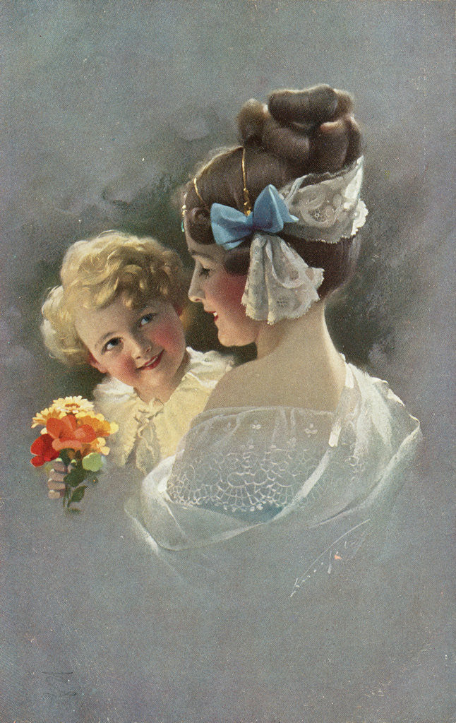 Detail of Postcard of Mother Holding Daughter by Corbis