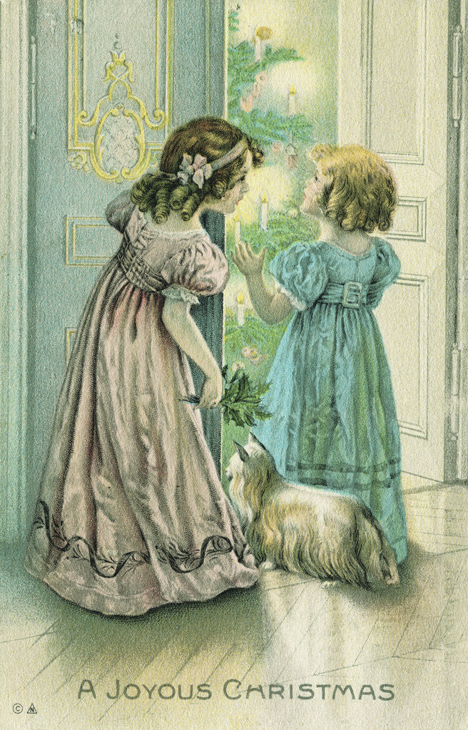 Detail of A Joyous Christmas Postcard with Little Girls Looking at the Christmas Tree by Corbis