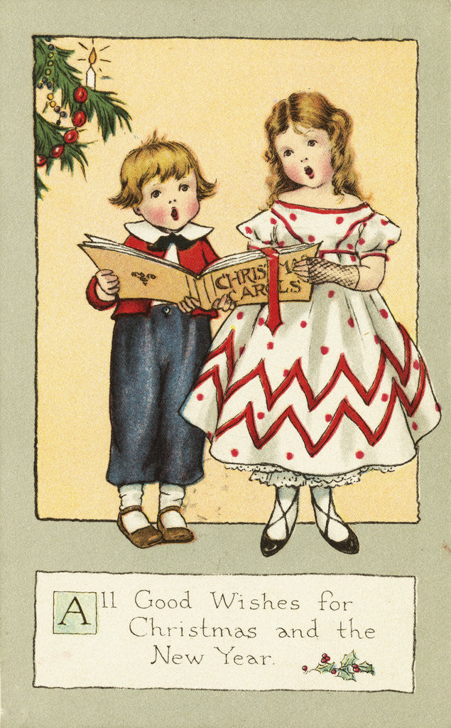 Detail of All Good Wishes for Christmas and the New Year Postcard by Corbis