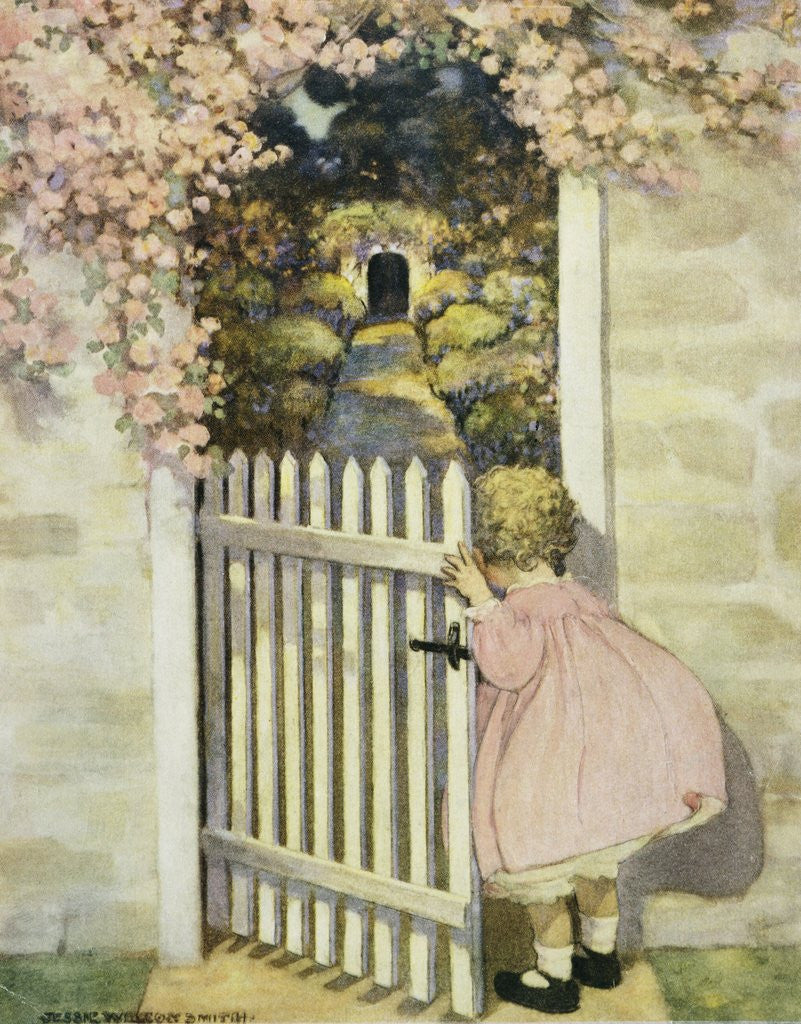 Illustration Of A Little Girl Walking Through A Gate Posters Prints By Jessie Willcox Smith