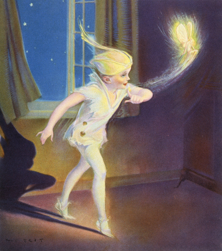 Detail of Book Illustration of Peter Pan Tiptoeing with Tinkerbell by Roy Best