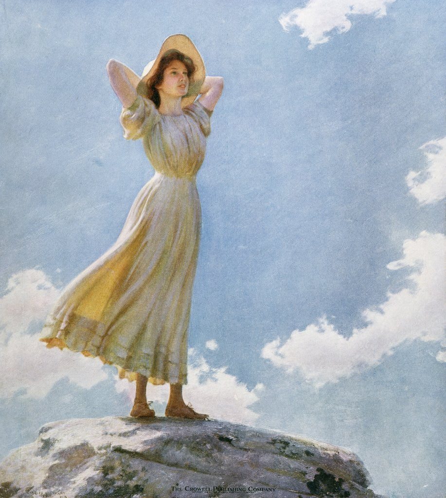 Detail of Illustration of a Woman on the Top of a Mountain by Charles Courtney Curran