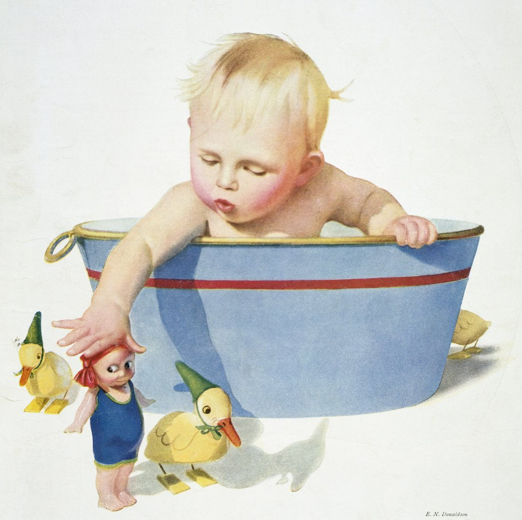 Detail of Illustration of a Young Child Playing with Bath Toys by E.N. Donaldson