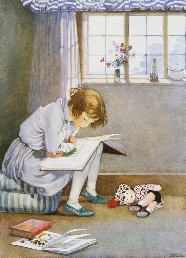 Book Illustration Of A Girl Reading Posters & Prints By