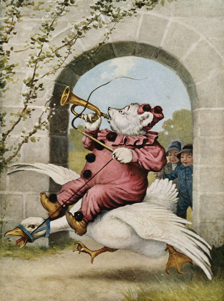 Detail of Book Illustration of a Bear Riding on a Goose by V. Floyd Campbell