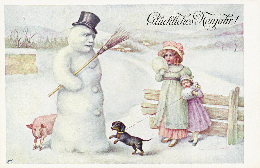 Detail of Gluckliches Neujahr! Postcard by Corbis