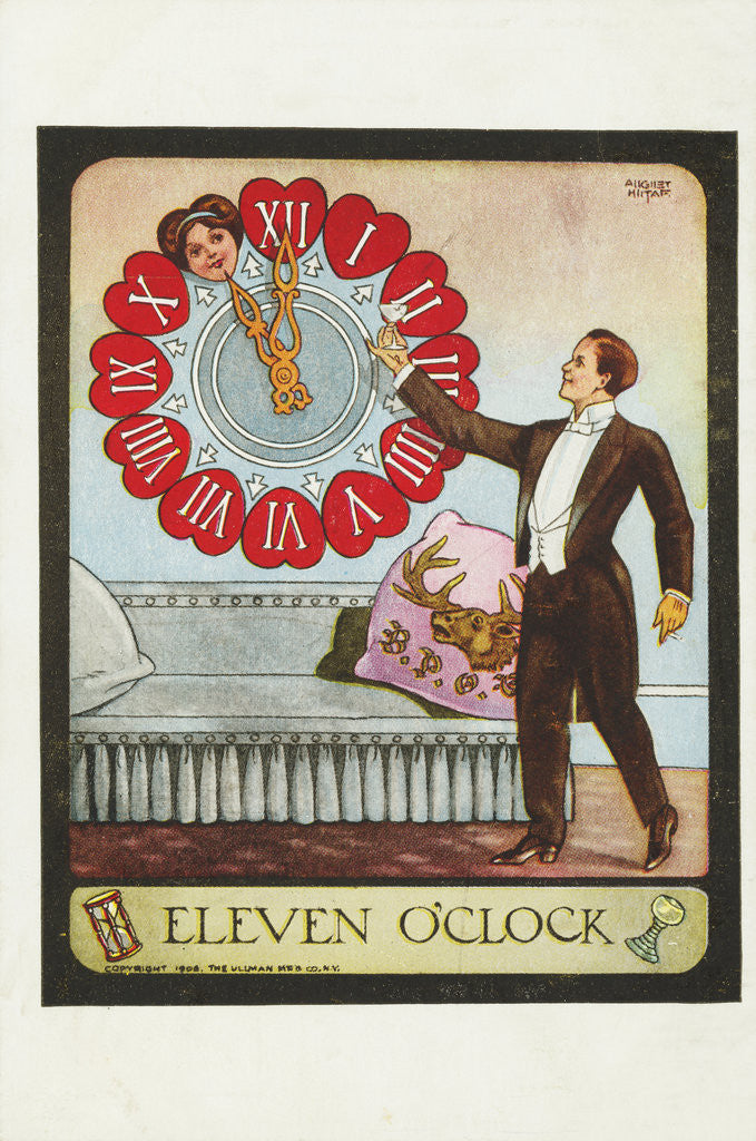Detail of Eleven O'Clock Postcard by A. Hitaf