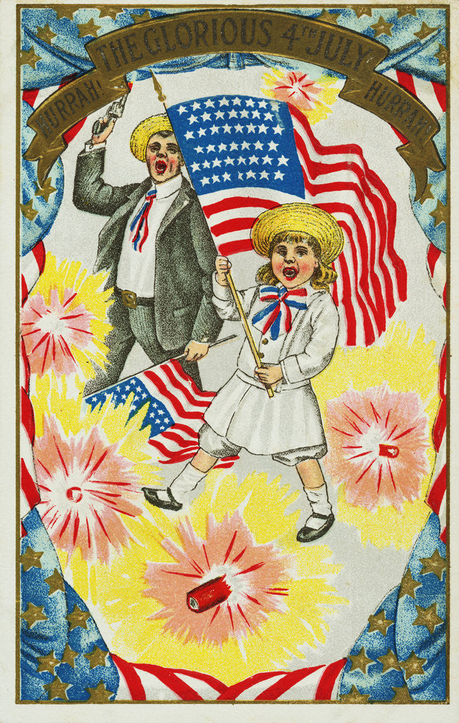 Detail of Hurrah! The Glorious 4th of July! Hurrah! Postcard by Corbis