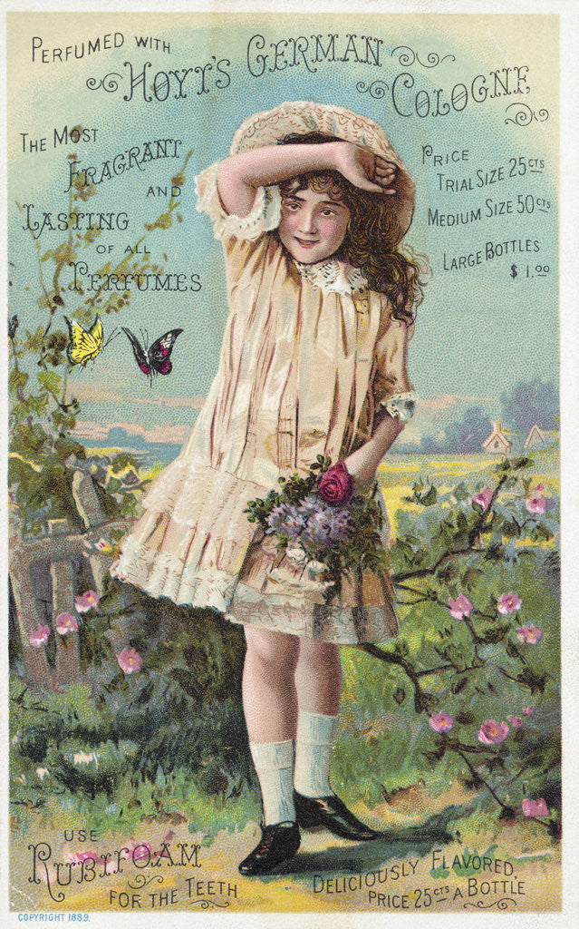 Detail of Hoyt's German Cologne Trade Card with a Girl and Butterflies by Corbis