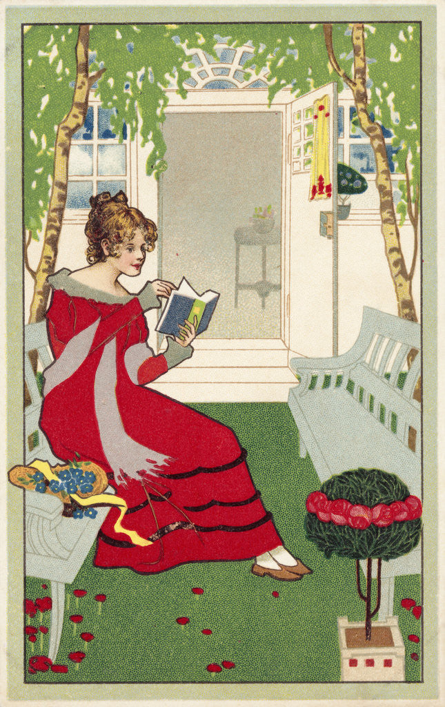 Detail of Postcard of a Woman Reading by Corbis
