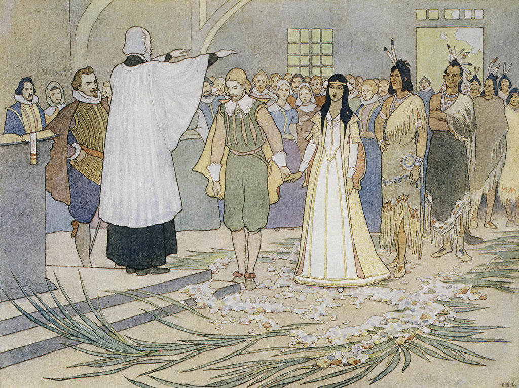 Illustration Of The Marriage Of Pocahontas And John Rolfe Posters