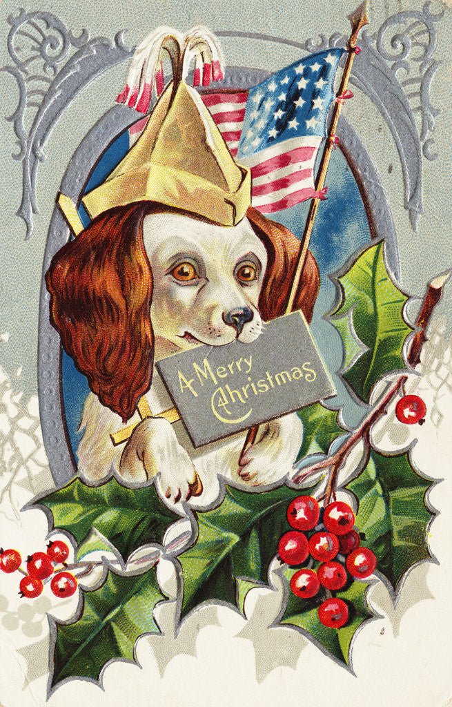 Detail of A Merry Christmas Postcard with a Patriotic Spaniel by Corbis
