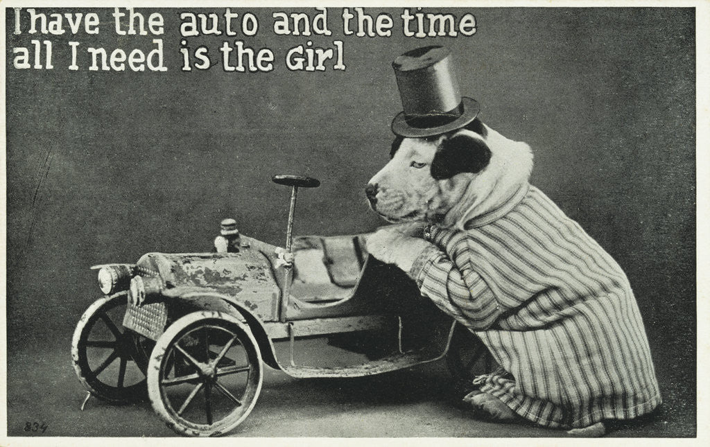 Detail of I Have the Auto and the Time Postcard with Dog by Corbis