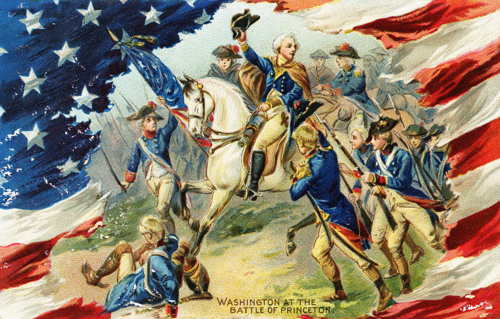 Detail of Washington at the Battle of Princeton Postcard by Corbis
