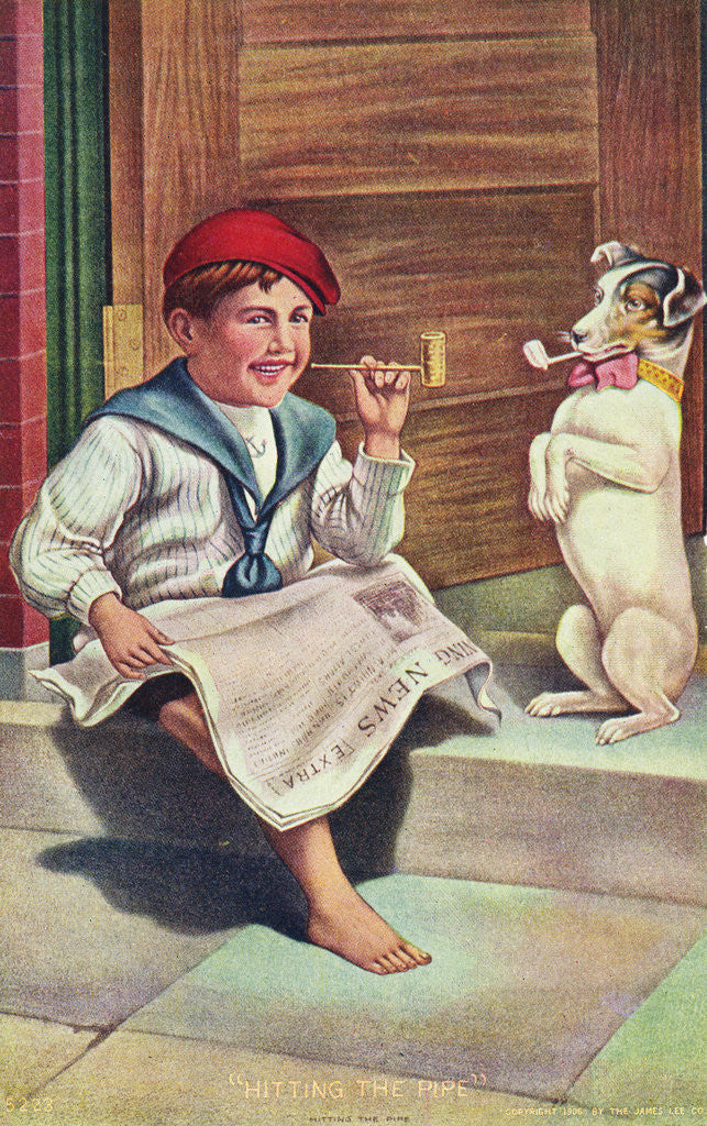 Detail of Hitting the Pipe Postcard by Corbis