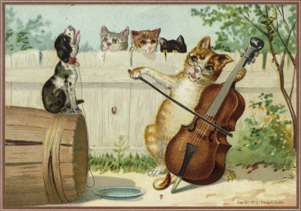 Detail of Trade Card of a Cat Playing a Cello with a Howling Dog by Corbis