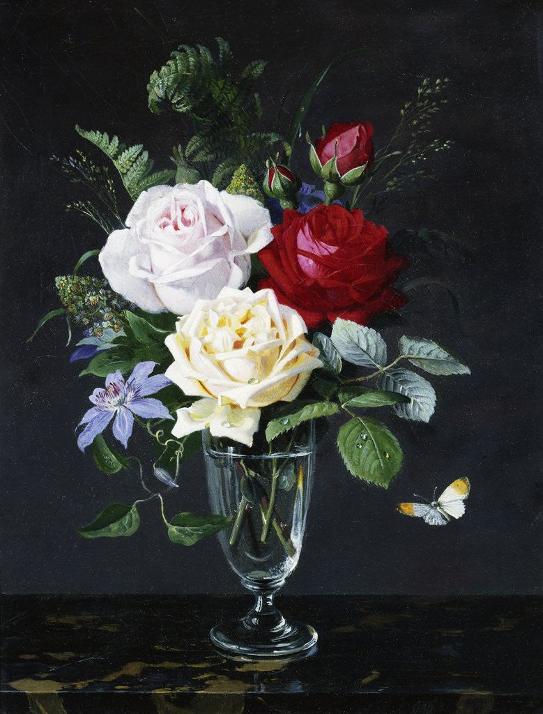 Detail of A Still Life of Roses and Clematis by Olaf August Hermansen