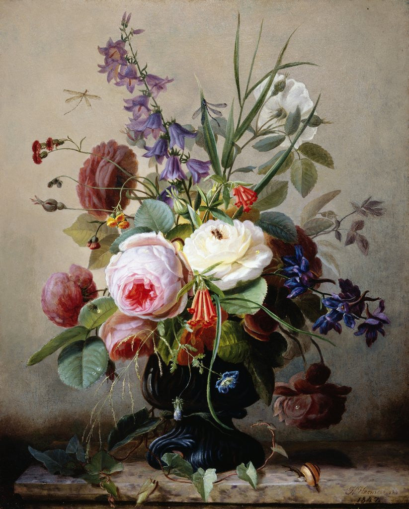 Detail of A Still Life of Summer Flowers by Hans Hermann