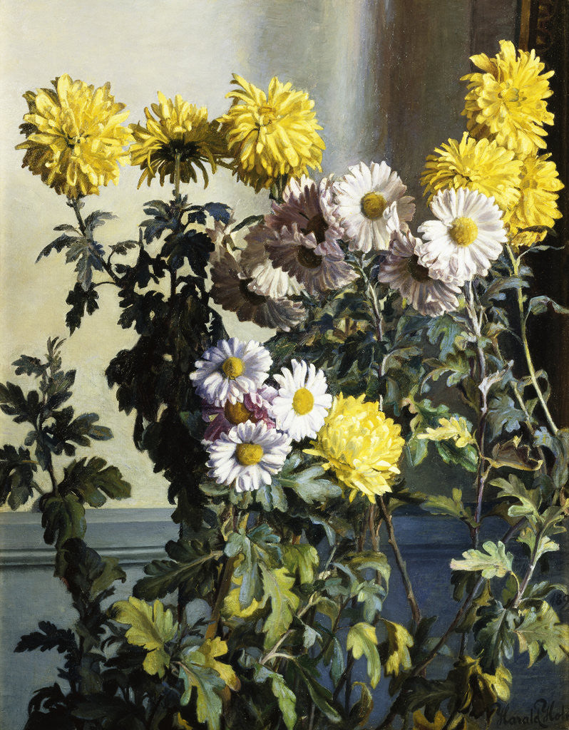 Detail of Chrysanthemums by Harald Martin Hansen Holm