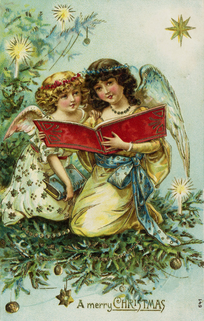 Detail of A Merry Christmas Postcard with Two Angels by Corbis
