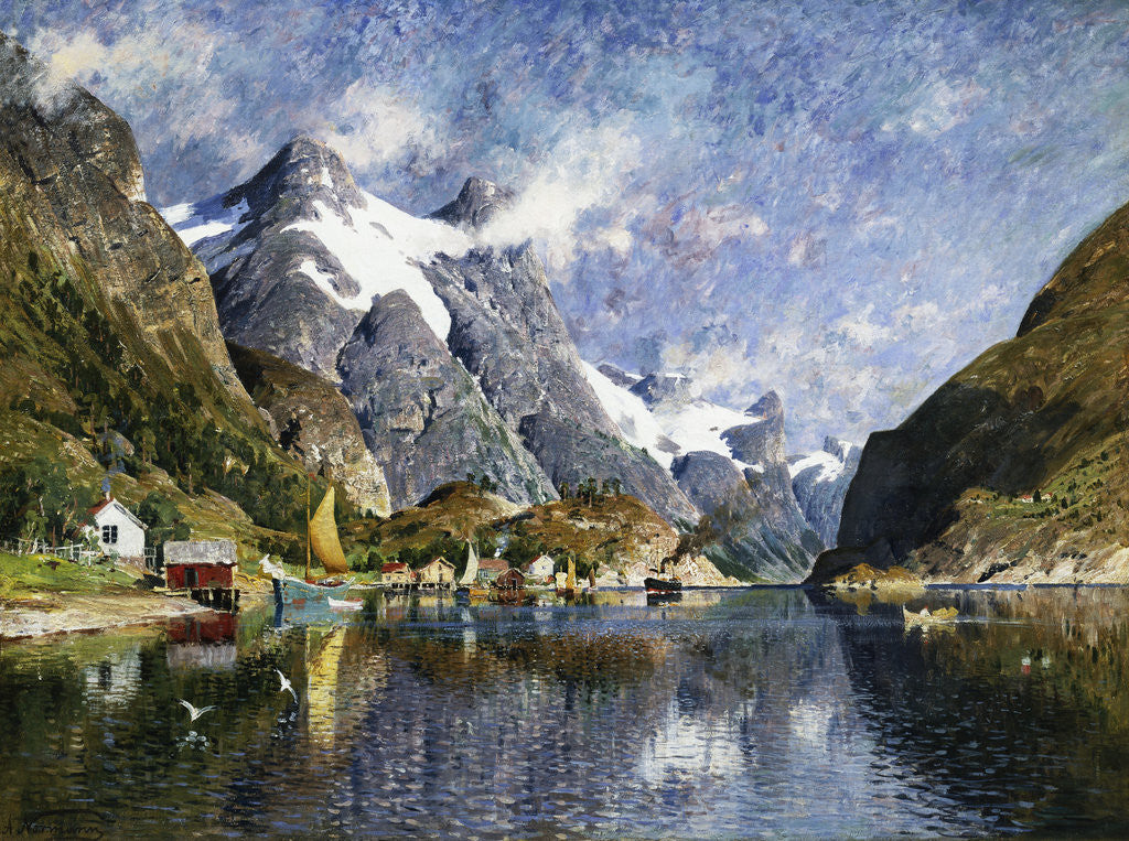 Detail of A Norwegian Fjord Painting by Adelsteen Normann